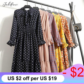 Casual Summer Dress Lady Korean Style Vintage Floral Printed Chiffon Shirt