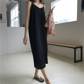 Maxi Dress Loose Sleeveless Dresses V-neck Sling Long Black Party Dress