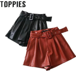 Leather High Waist with Belt Women's Shorts