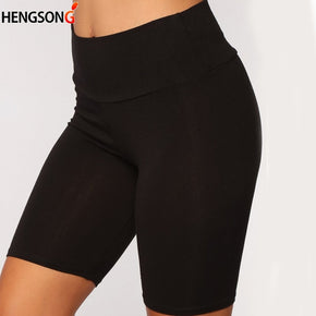 Women Short Pants Casual High-Waist Black Shorts