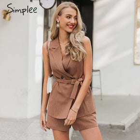 Sleeveless blazer vest suit Striped sash belt female jacket shorts