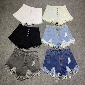 women denim Shorts high waists fur-lined leg-openings