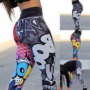 Puimentiua Women Printed Leggings Fitness Slim Workout Leggings