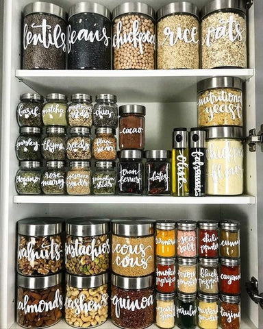 Kitchen Storage with food in marked containers