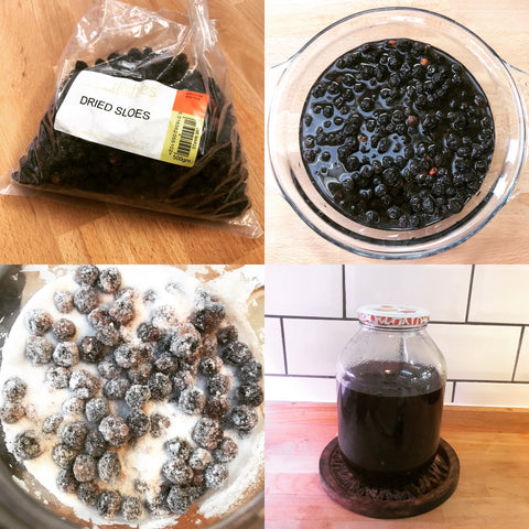 Making Sloe Gin from Dried Sloes