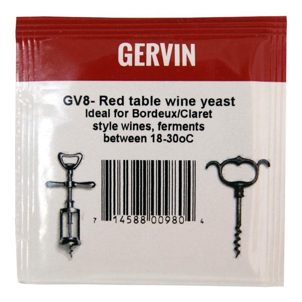 GV8 Gervin Red Table Wine Yeast by Muntons
