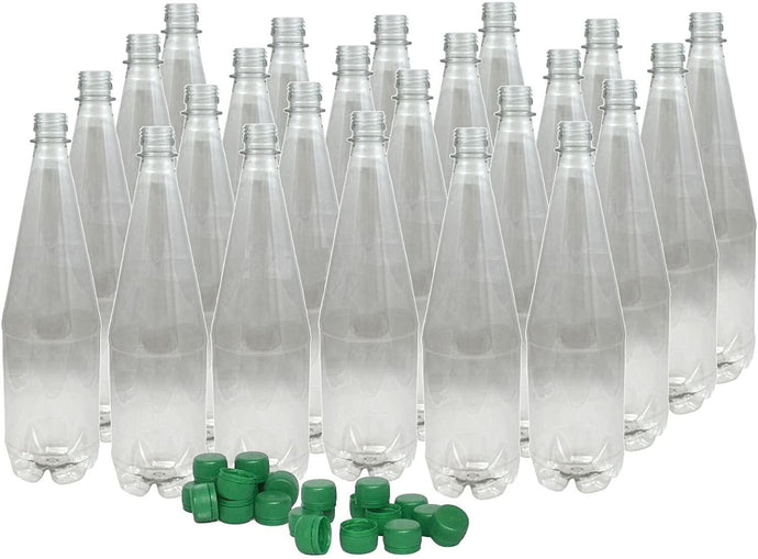 Young's Plastic 1 Litre PET Clear Bottles & Caps - 24 Pack - Almost Off Grid