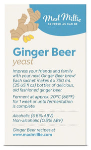 Mad Millie Ginger Beer Yeast Sachets (3) - Almost Off Grid