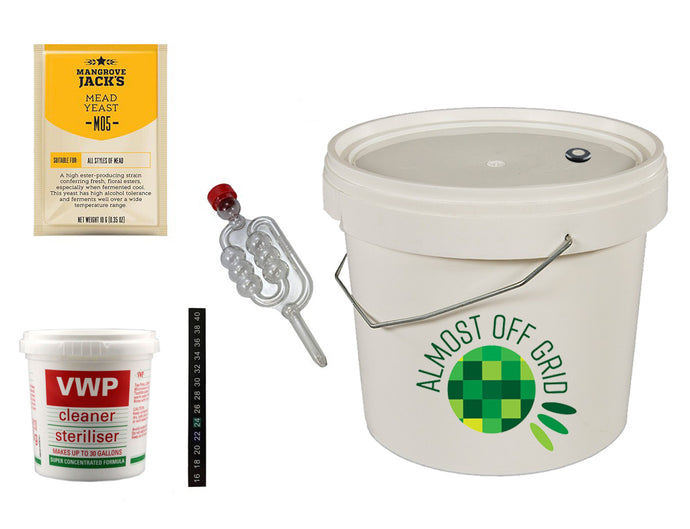 Almost Off Grid Mead Starter Kit with 5 Litre Fermentation Bucket - Almost Off Grid