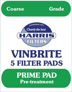 Harris Filters Harris Filters Vinbrite Coarse Filter Pads<br>(Pack of 5) - Almost Off Grid