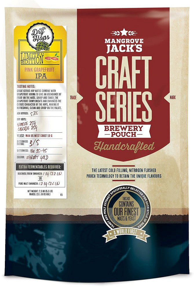 Mangrove Jack's Craft Series Pink Grapefruit IPA with Dry Hops Beer Kit - Almost Off Grid