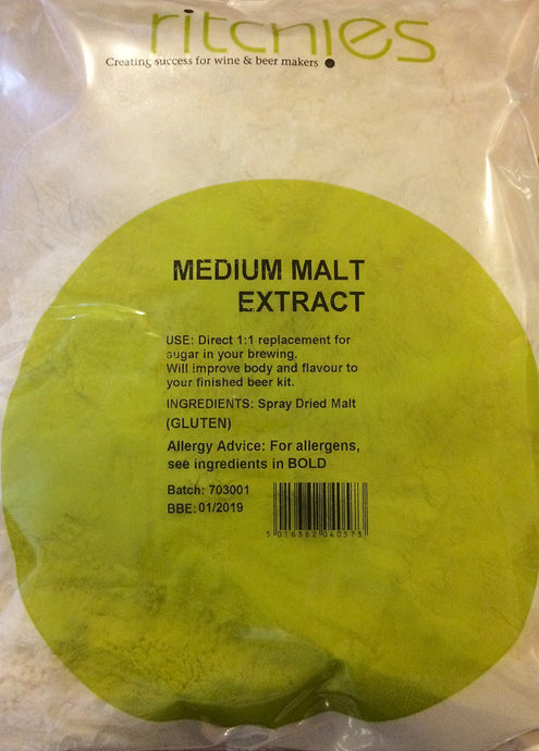 Ritchies Medium Spray Dried<br>Malt Extract (DME) (1kg) - Almost Off Grid