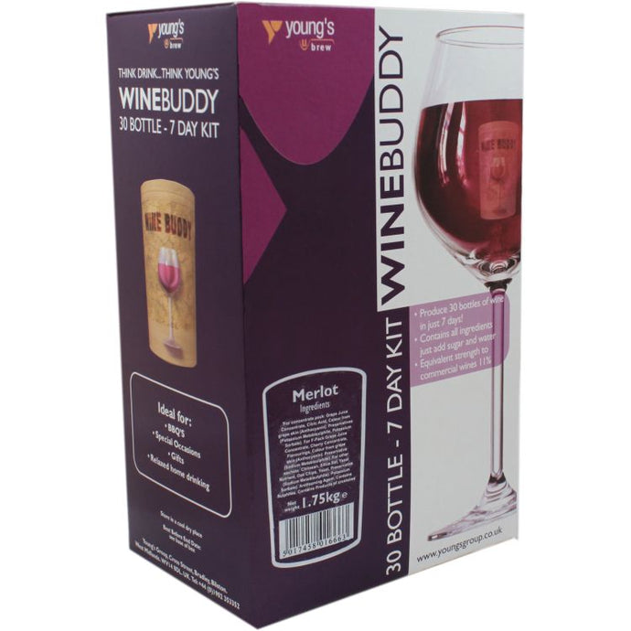 Young's WineBuddy Merlot<br>Wine Kit (30 Bottles) - Almost Off Grid