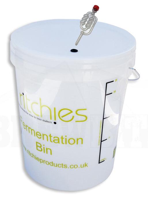 Ritchies 25 Litre Fermentation Bucket<br>with Drilled Lid & Airlock - Almost Off Grid