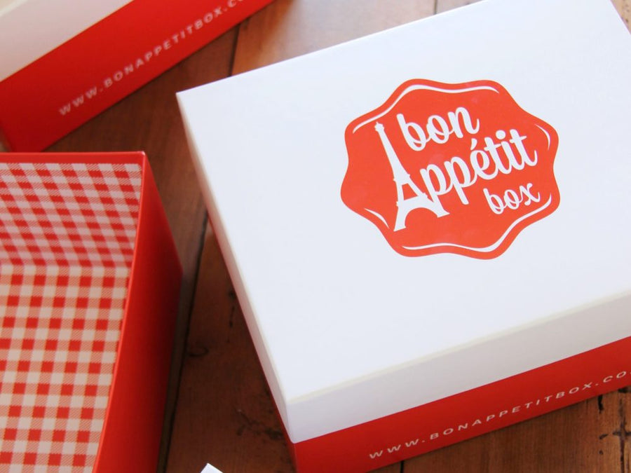Our own beautiful Bon Appétit Box packaging included in this gourmet French food box