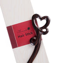 Breezelike Handmade Carved Ebony Hairpin: Love Heart