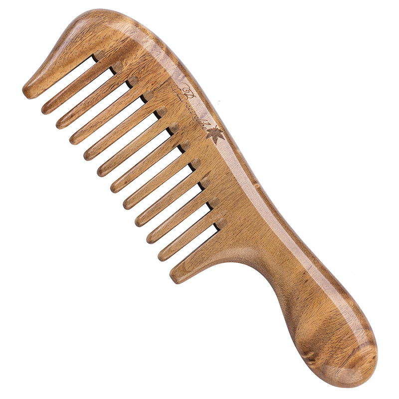 Breezelike Mini No Static Sandalwood Round Handle Wide Tooth Comb for Detangling
