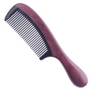 Breezelike No Static Black Buffalo Horn Fine Tooth Comb with Round Purpleheart Wood Handle