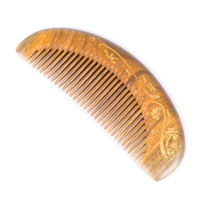 Breezelike No Static Sandalwood Moon Shaped Fine Tooth Comb with Golden Painted Flower