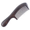 Breezelike No Static Ebony Wood Wide Tooth Comb with Round Handle