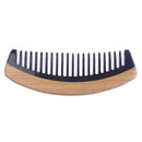 Breezelike No Static Handleless Black Buffalo Horn with Green Sandalwood Wide Tooth Comb