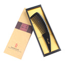 Breezelike No Static Big Size Natural Shaped Black Buffalo Horn Wide Tooth Comb