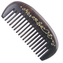 Breezelike No Static Small Chacate Preto Wood Pocket Comb with Painted Golden Flowers