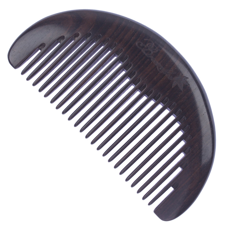 Breezelike No Static Small Half Round Ebony Wood Pocket Comb