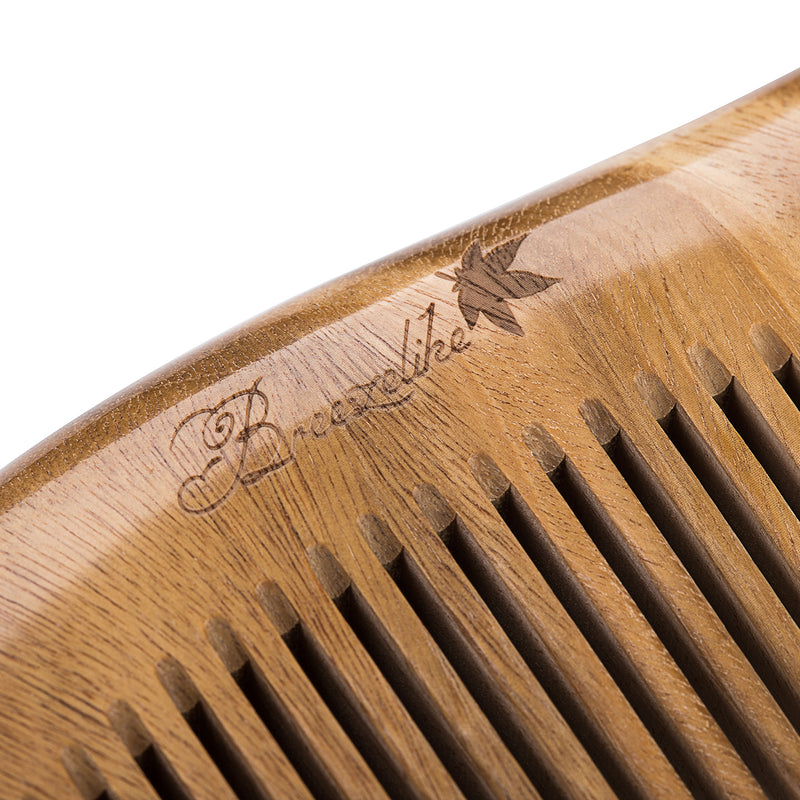Breezelike Mini No Static Sandalwood Round Handle Comb for Detangling