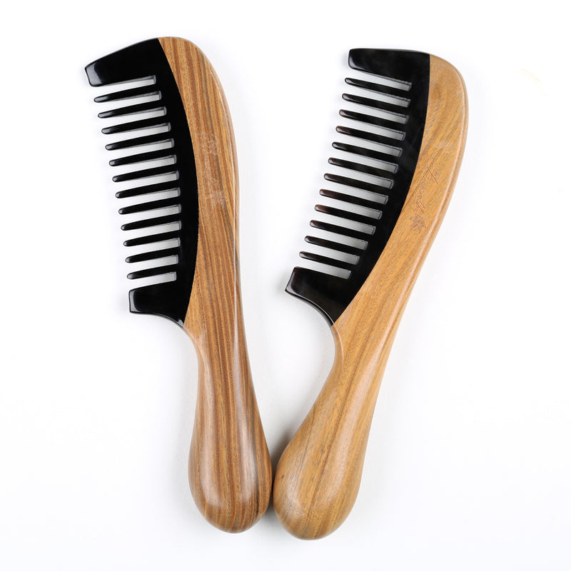 Breezelike No Static Wide Tooth Natural Sandalwood Buffalo Horn Hair Comb for Curly Hair