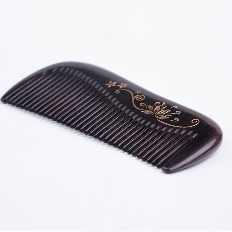 Breezelike No Static Ebony Comb with Golden Painted Flower