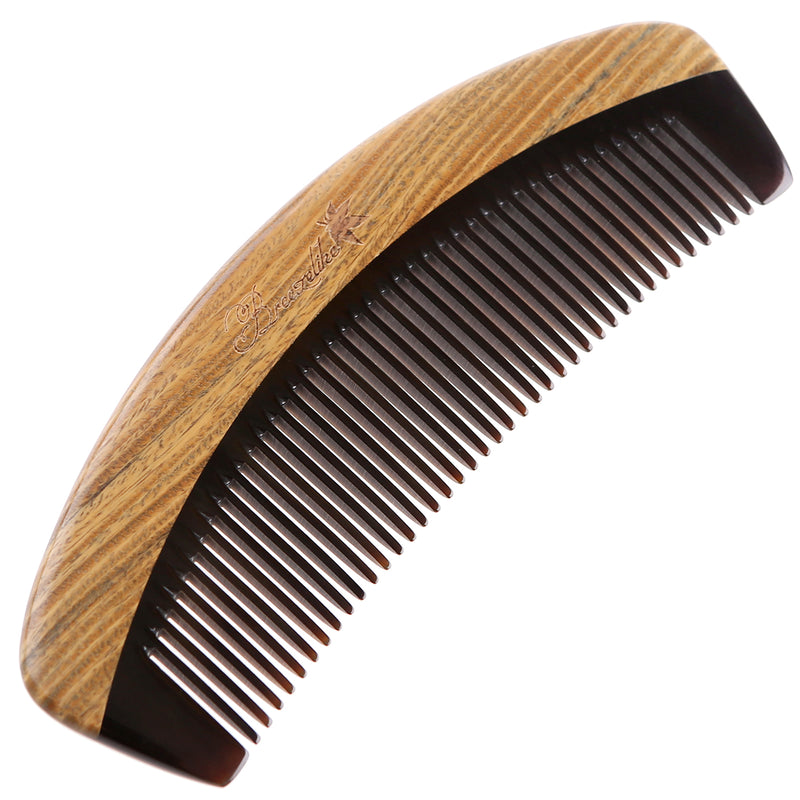Breezelike No Static Handleless Black Buffalo Horn with Green Sandalwood Fine Tooth Comb