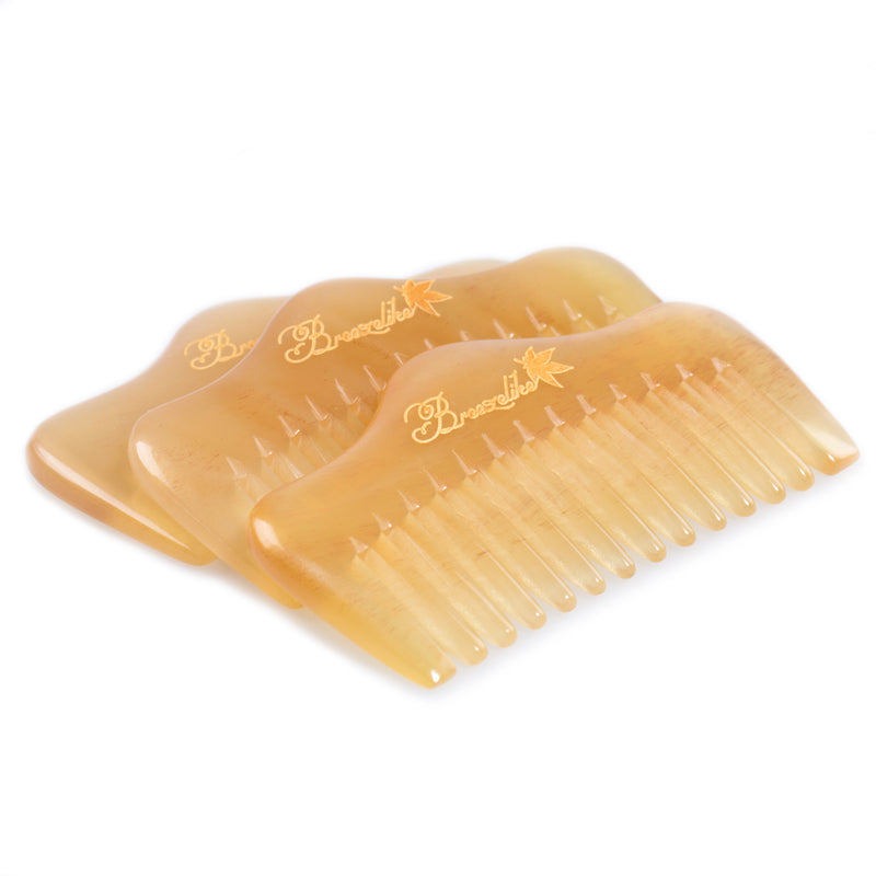 Breezelike No Static Mini Hill Shaped Sheep Horn Pocket Wide Tooth Comb