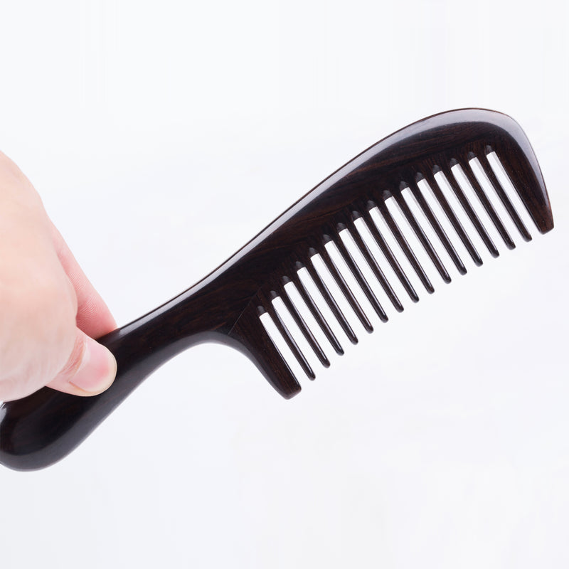 Breezelike No Static Handle Ebony Wide Tooth Comb for detangling