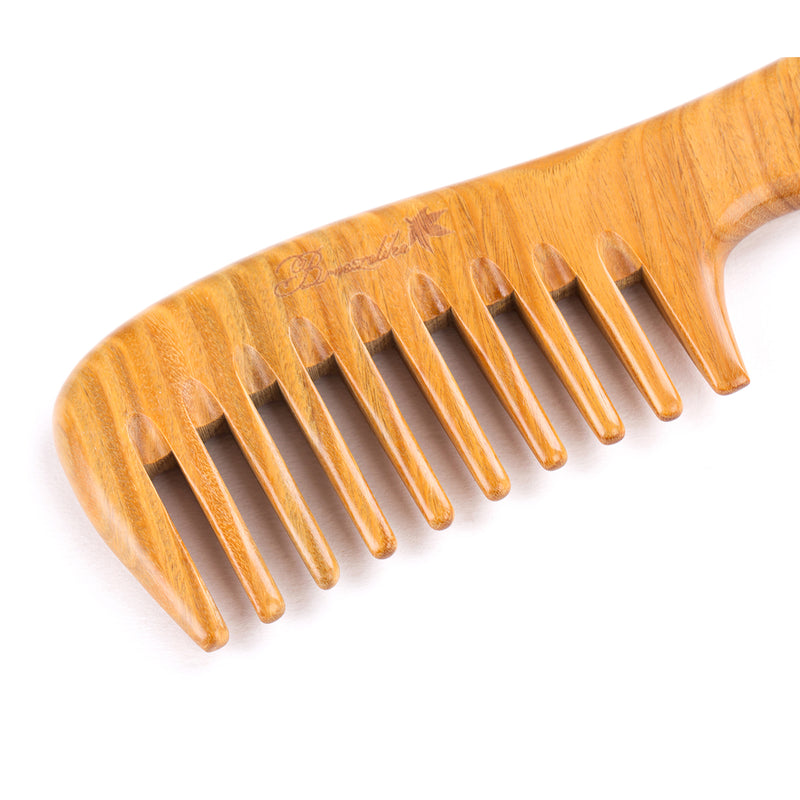 Breezelike No Static One Piece Wavy Handle Sandalwood Wide Tooth Comb
