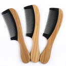 Breezelike No Static Black Buffalo Horn Comb with Sandalwood Handle