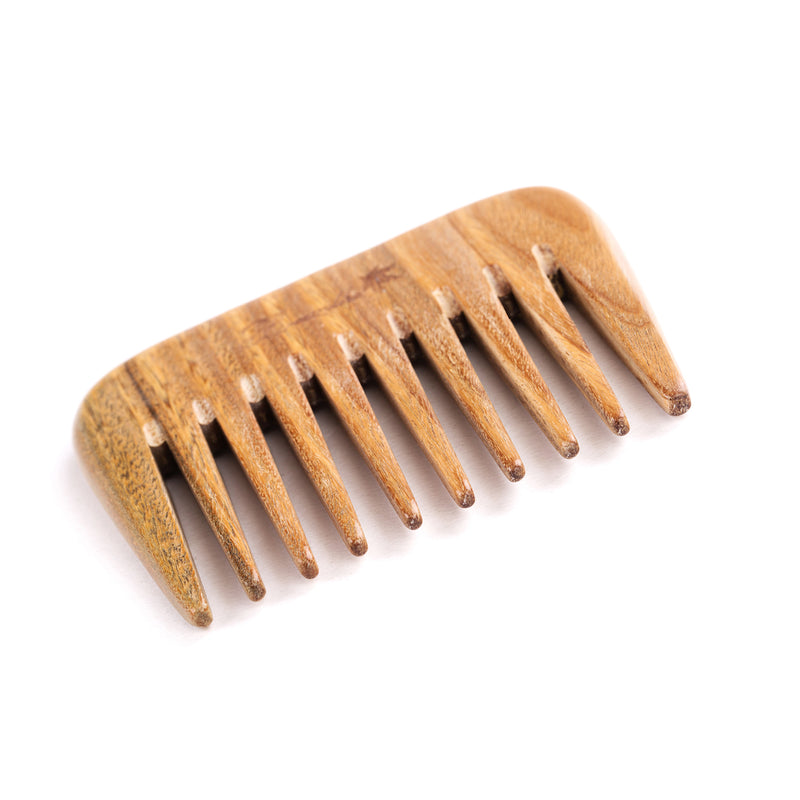Breezelike No Static Rectangle Shaped Sandalwood Big Size Pocket Wide Tooth Comb