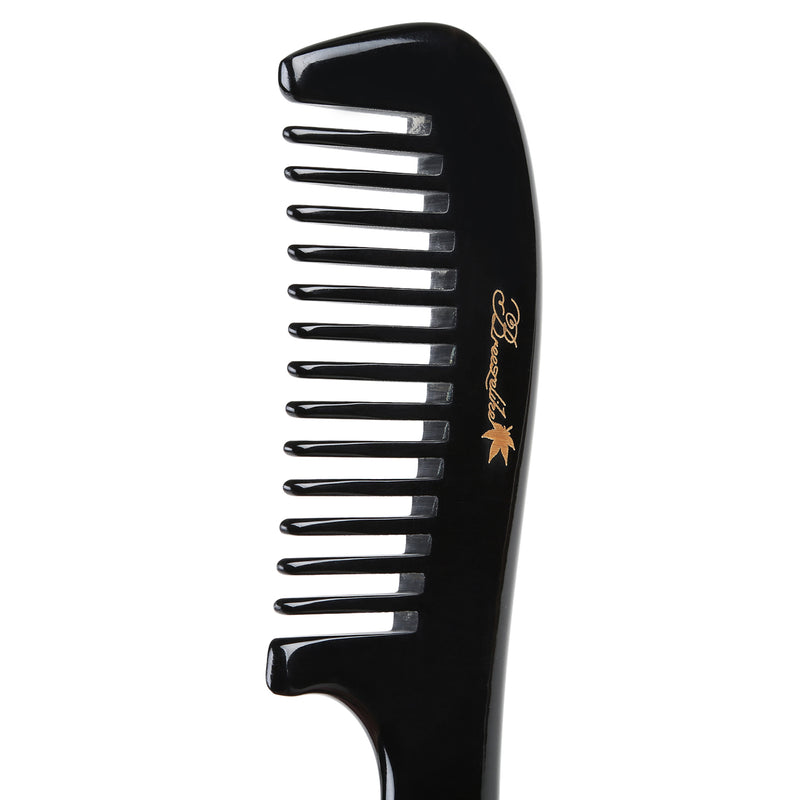 Breezelike No Static Round Handle Black Buffalo Horn Wide Tooth Comb