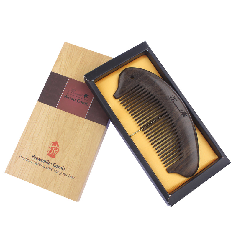 Breezelike No Static Curving Chacate Preto Wood Pocket Comb