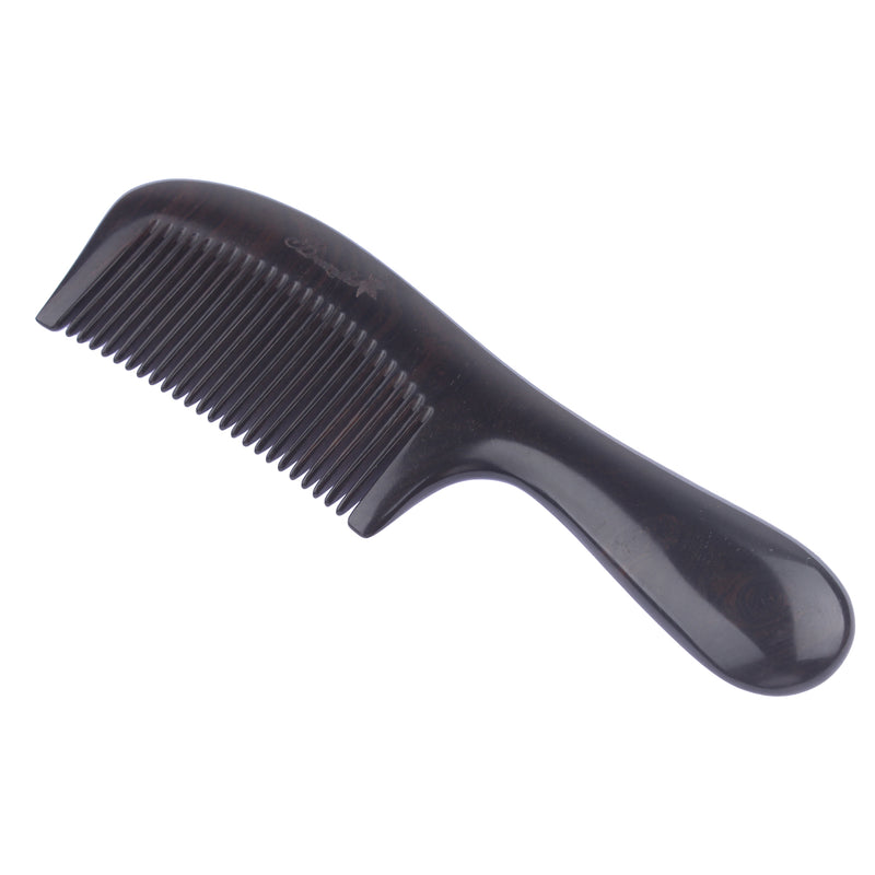Breezelike No Static Ebony Wood Comb with Round Handle