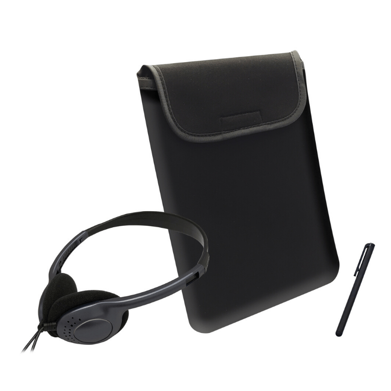 Caseworks 3-Piece Tablet Accessory Kit (ACC1802) - (Colored Headphones, Sleeve, and Stylus)