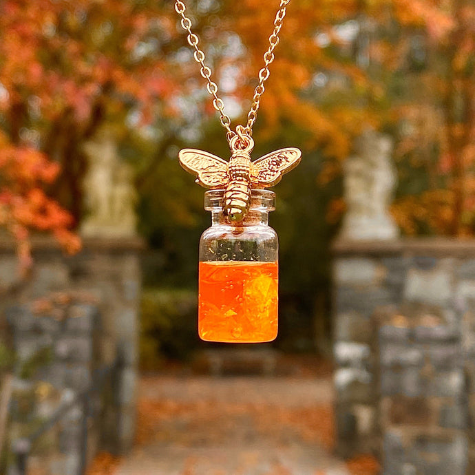 Honey Jar Gold Bee Necklace