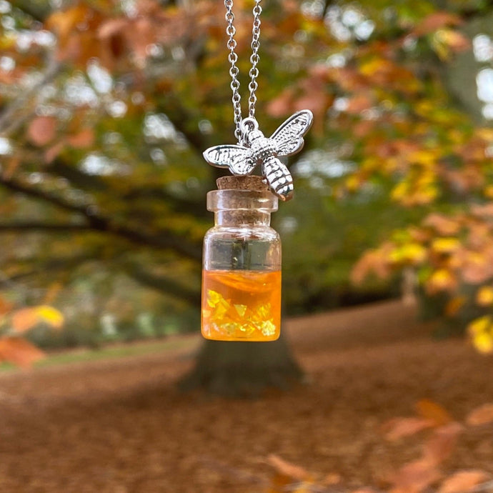 Honey Jar Silver Bee Necklace