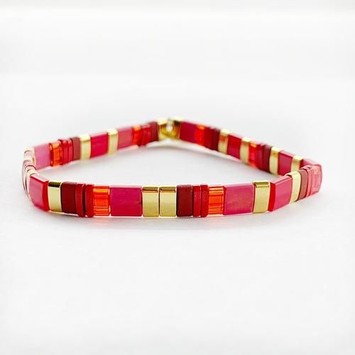 Frosted Red and Gold Glass Bead Bracelet