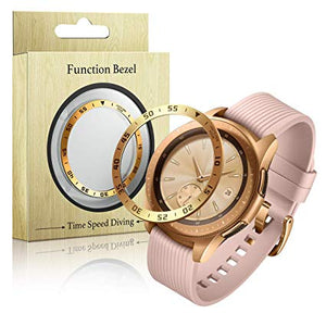 Rose Gold Stainless Steel Bezel Ring + Diamond for Samsung Galaxy Watch 42mm Women Anti Scratch Protection Cover Adhesive Case