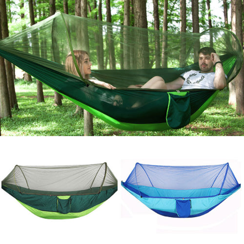 Outdoor Mosquito Net Hammock Parachute Tent Portable Garden Camping Hanging Sleeping Bed High Strength Sleeping Swing 250x120cm
