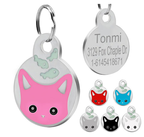 Stainless Cute Kitten Face Cat ID Tags