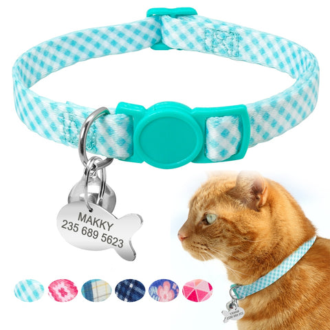 Custom Safety Personalized Cat Collars with Bell Name Tag