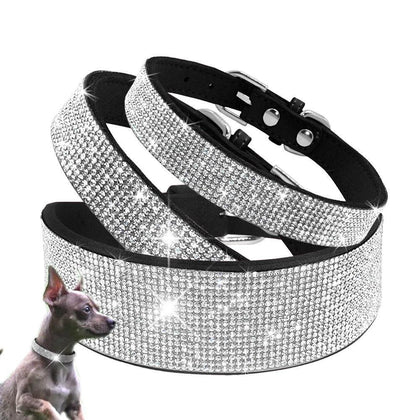 Rhinestone Collars Leather Pet Dog Bling