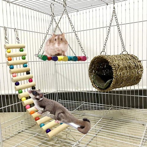 3-Piece Warm Nest Swing Pet Hammock Small Pet Ladder